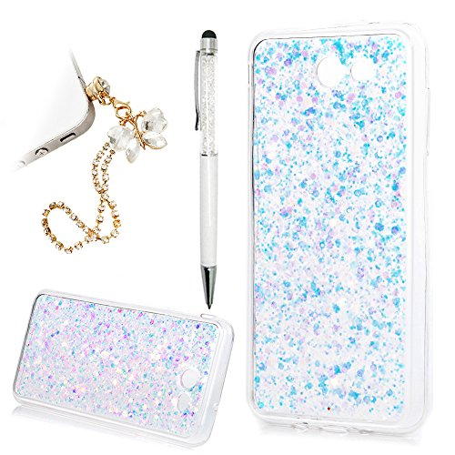 Galaxy J7 2017 Case, Galaxy J7 Sky Pro / J7 Perx / J7 Prime Case, Bling Glitter Powder Transparent Clear Full Body Protective Shell Soft TPU Frame Hard PC Back - Transparent Glitter