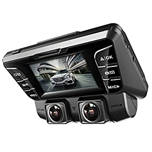 Pruveeo C2 Dual Dash Cam 1920x1080P Front and Rear Car Dashboard Camera with Sony Sensor, Built-in WDR Wide Viewing Angle Car Recorder, Loop Recording