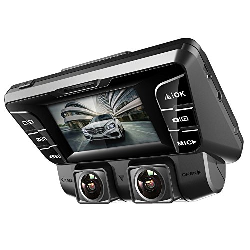 Pruveeo C2 Dual Dash Cam 1920x1080P Front And Rear Car Dashboard Camera With Sony Sensor, Built In WDR Wide Viewing Angle Car Recorder, Loop Recording