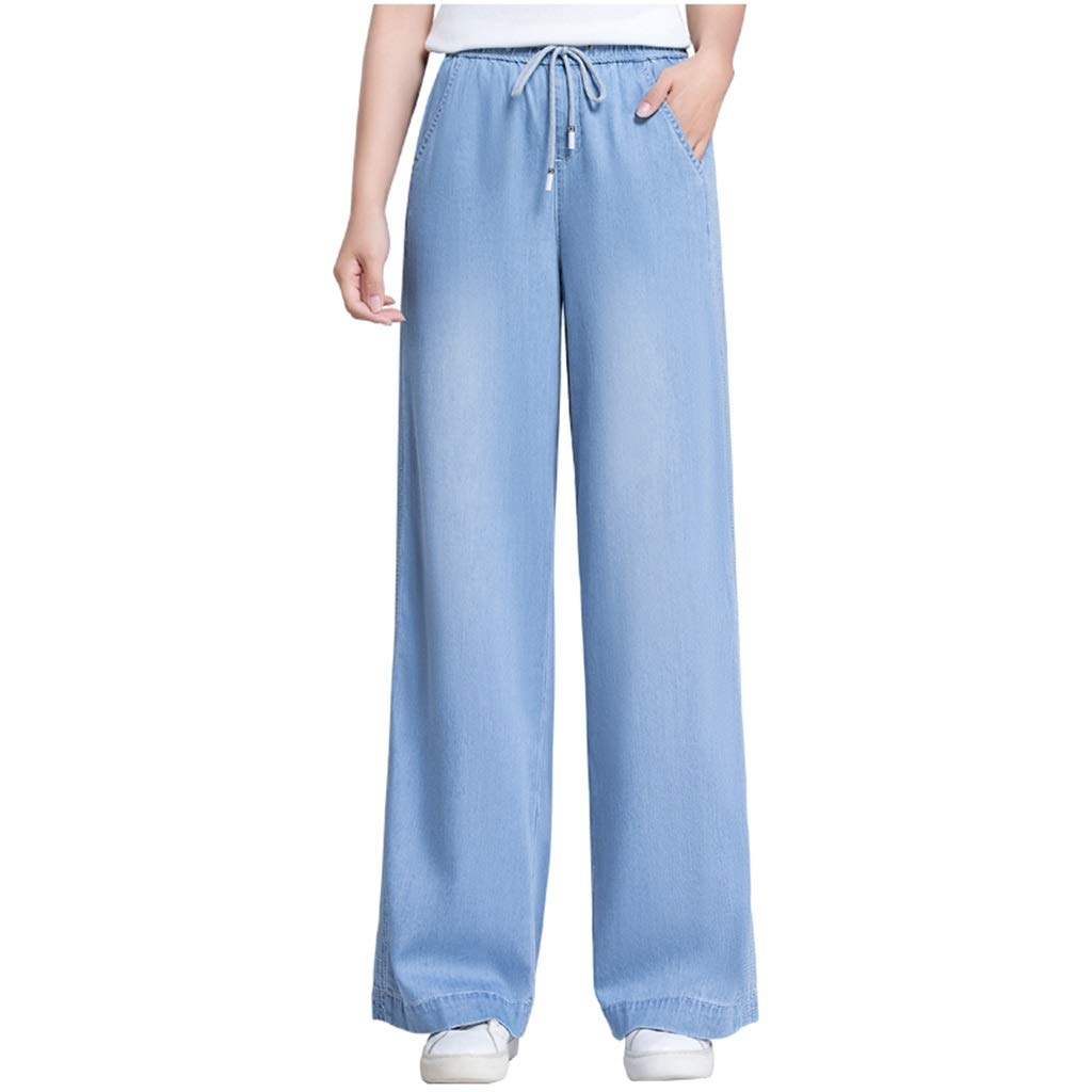 bluee Tencel Jeans Female High Waist Slim Wide Leg Pants New Loose Drape Straight Long Pants Tencel Denim WideLeg Pants, Length 101cm (color   bluee, Size   29 XL)