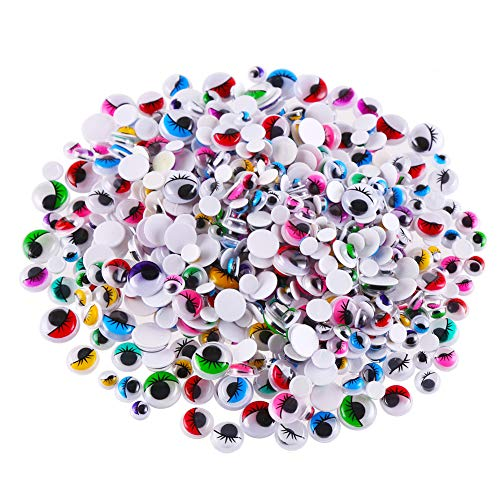 (CCINEE 500 Pieces 6-12 mm Wiggle Eyes Multi Color Google Eyes with Self Adhesive Eyelash Googly Eyes for Craft Making )