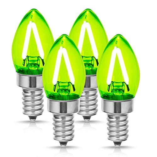 - DORESshop E12 Small Base Green Light Bulb, No Dimmable C7 LED Filament Bulb, 2W (20W Equivalent) LED Candelabra Light Bulbs, 200LM, Perfect for Holiday, Christmas, Home Lighting Decorative (4-Pack)