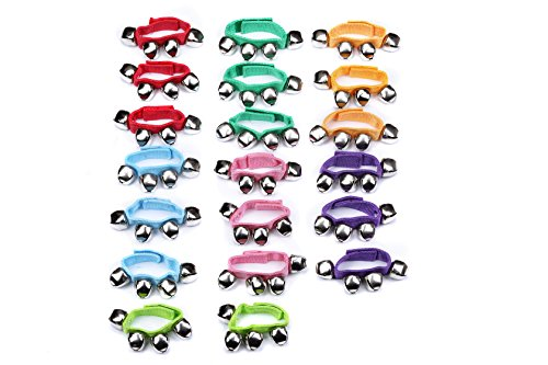 I-MART Assorted Colors Wrist Band, Jingle Bells Musical Rhythm Toys, Band Instruments for Children, Kids (24 Pcs)