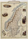 1800's SWEDEN AND NORWAY STOCKHOLM MAP VINTAGE POSTER REPRO
