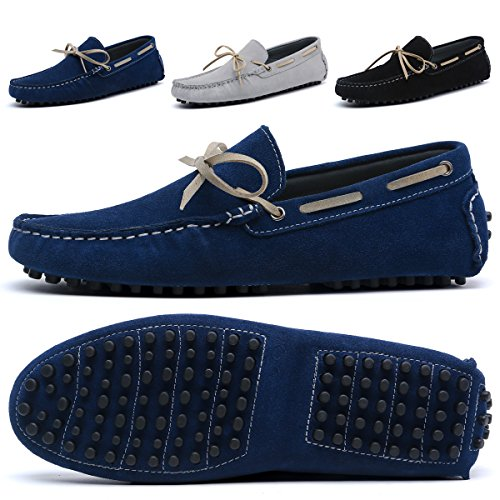 BINSHUN Mens Slip On Shoes Loafers Suede Driving Penny Loafer Moccasins Dress Flats Boat Deck Shoe