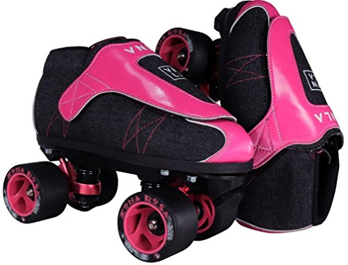 Mens Jam Roller Skates (VNLA Zona Rosa Jam Skates | Quad Roller Skates from Vanilla – Indoor Speed Skates – Denim and Leather – For Tricks and Rhythm Skating (Neon Pink and Black))