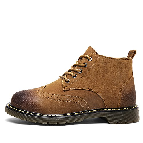 Lace Ankle Boot Winter Casual Chukka Shoes Fashion Suede up Men's SUNROLAN Leather Brown Boots wxTfSgxR