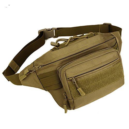 X-Freedom Nylon Military Tactical Outdoor Fanny Pack Waist Bag Daypack Waterproof Hip Belt Bag, Dark Brown