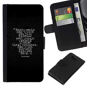 YiPhone /// Tirón de la caja Cartera de cuero con ranuras para tarjetas - Alla gente non piace Lei - Samsung ALPHA G850
