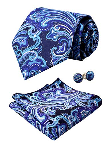Alizeal Mens Multi-color Floral Tie, Hanky and Cufflinks Set, Turquoise+Navy+Purple]()