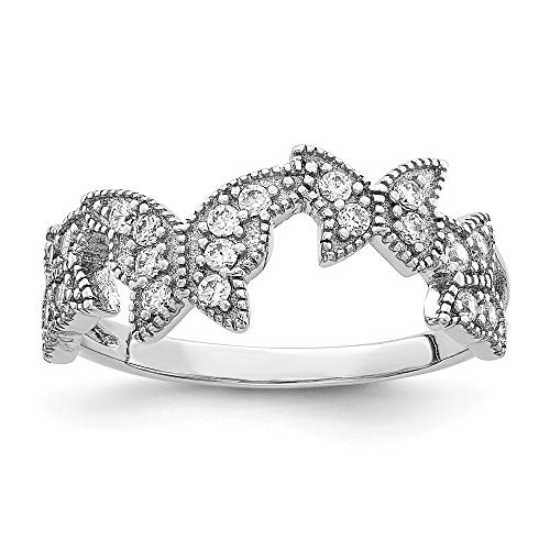925 Sterling Silver Butterfly Cubic Zirconia Cz Band Ring Size 7.00 Fine Jewelry Gifts For Women For Her