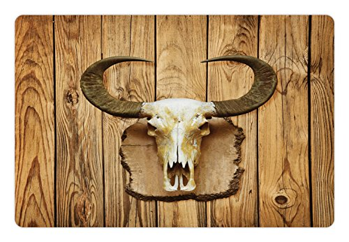 Bull Buffalo Horn (Western Pet Mats for Food and Water by Lunarable, Buffalo Bull Skull with Horns Hanging on Rustic Wooden Plank Image Print, Rectangle Non-Slip Rubber Mat for Dogs and Cats, Pale Brown and Ivory)