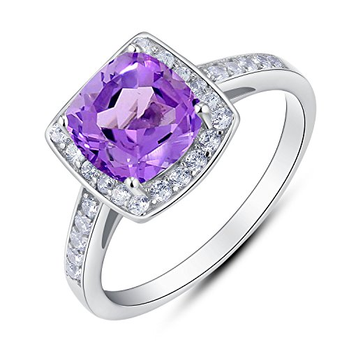 BL Jewelry Vintage Style Sterling Silver Cushion Cut Genuine Gemstone Halo Ring (2 CT.T.W) (5, amethyst) ()