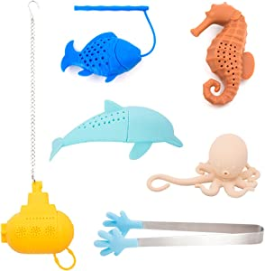 SNAIL GARDEN 6Pack Tea Infuser Set, 5Pack Ocean Themed Silicone Tea Strainers Filters with 1 Tea Tong for Loose Leaf Tea-Reusable & Funny for sharing with Family and Friends