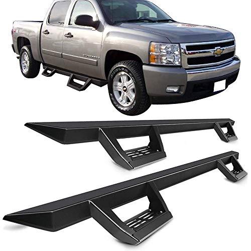 Running Boards Fits 2007-2018 Chevy Silverado GMC Sierra Crew Cab 4-Door | IKON V2 Style Black Steel Side Step Bar Nerf Bar by IKON MOTORSPORTS | 2008 2009 2010 2011 2012 2013 2014 2015 2016 2017