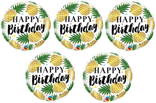 5 Gold Pineapple Balloon Set | Foil Happy Birthday Party Balloons for Parties with Luau, Tropical, Hula, Hawaiian, Beach Theme | By Burton And Burton