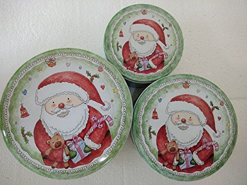 3PCS/set Metal Santa Claus iron storage box biscuits box, household debris box,christmas gifts packing tin boxes,christmas ornaments,christmas lights packing - Claus Tin Santa