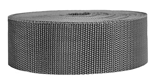 Strapworks Heavyweight Polypropylene Webbing - Heavy Duty Poly Strapping for Outdoor DIY Gear Repair, 2 Inch x 25 Yards, Charcoal
