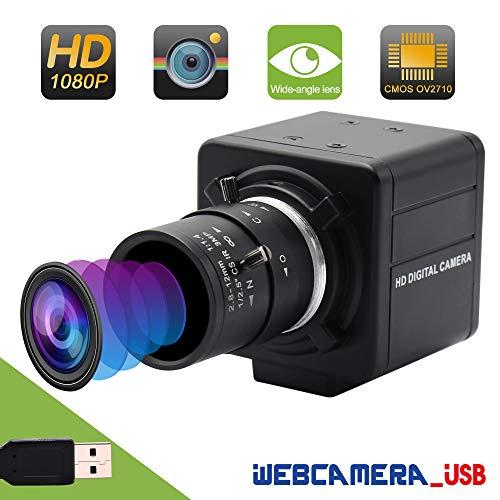 Varifocal Lens USB Webcam Mini Camera 2.8-12mm CMOS OV2710 USB with Camera,2MP High Speed 100fps Webcam,Full HD 1080P Webcamera,UVC Compliant Support Most OS,Focus Adjustable,High Speed USB2.0 Webcam (Best High Speed Camera For Golf)