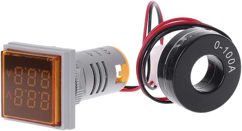 5 Color Square Dual Display Voltmeter and Ammeter LED Digital Voltage Gauge AC 60-500V 0-100A Current Meter