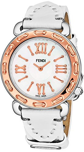 Fendi Leather White (Fendi Selleria Womens Stainless Steel Fashion Swiss Watch - Mother of Pearl Face Rose Gold Bezel White Leather Strap Vintage Dress Watch for Women with Interchangeable Band F8002345H0-PS18R04S)