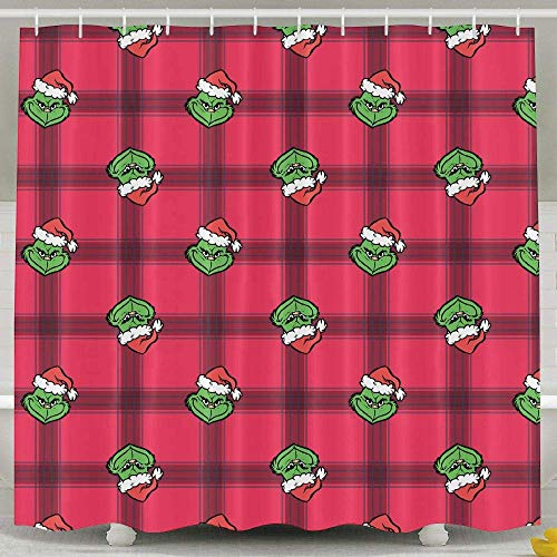 SARA NELL Cute Cartoon Grinch Shower Curtain,Waterproof Polyester Fabric,Extra Long The Grinch Pink Bath Curtains Bathroom Decorations Home Decor, 72x72 Inches with 12 Hooks