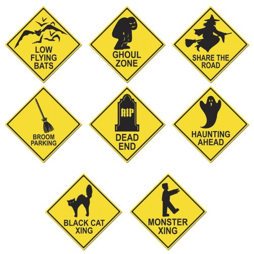 [Beistle 4-Pack Halloween Road Sign Cutouts, 16-Inch] (Street Sign Halloween Costumes)