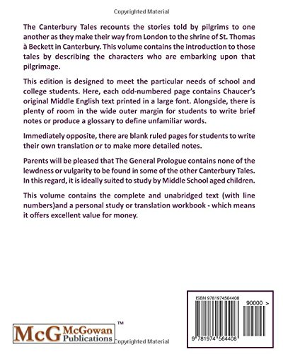 The Canterbury Tale General Prologue Original Text And Translation Workbook Thrifty Classic Literature Volume 46 Chaucer Geoffrey 9781974564408 Amazon Com Books Paraphrase