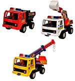 Toyshine Engineering Vehicle Set Toy 3 in 1 with JCB, Coal Carrier and Crane