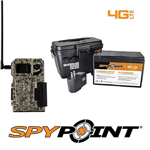 SPYPOINT Link-Micro-V Cellular MMS Trail Camera 4G/LTE (VERIZON) with Rechargeable Battery KIT-12V and Free 2 Year Warranty Deluxe Trail Camera Package(4G Camera, 12V Power Kit)