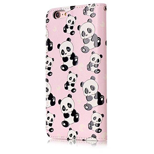 Funda iPhone 6 plus/6S plus,SainCat Funda de cuero sintético tipo billetera con de Suave PU Carcasa Con Tapa y Cartera, Elegante Estuche Caja,Pintado en relieve árbol Cuero de la PU Leather Cubierta P Panda