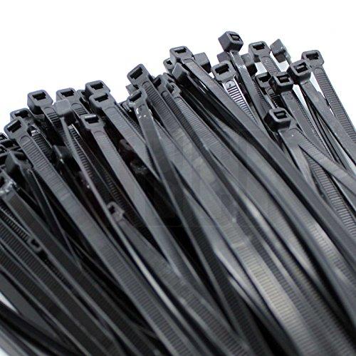 "BuyCheapCables® 12"" Black Nylon Cable Zip Ties Self Locking 5mm Tensile 50lbs, 100-pack"