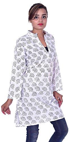 df63cbbdb603c Indian 100% Cotton Kurta Designer Women Ethnic Top Tunic Kurti plus size  Elephant print White Color