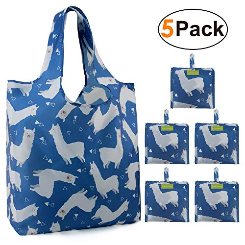 Grocery Bags Reusable Foldable 5 Pack Large Capacity Can Hold 50Lbs Cute Alpaca Reusable Tote Bags Easily Folding into Attached Pouch, Reusable Bags for Shopping, Groceries, Trip ()