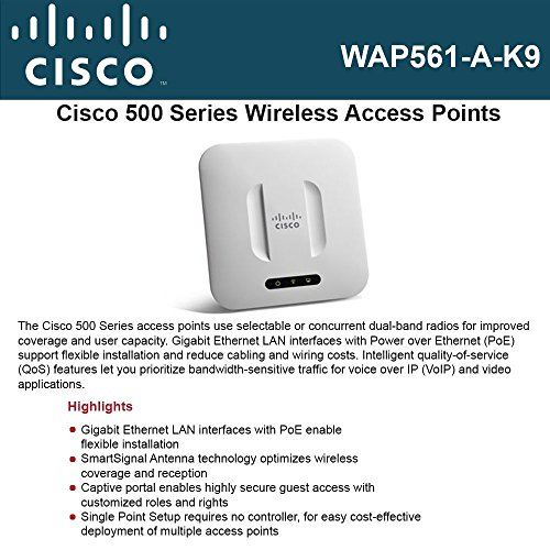 Cisco WAP561-A-K9 IEEE 802.11n Wireless Access Point Cisco Wireless-N Dual Radio Selectable Band Access Point with Singl ()
