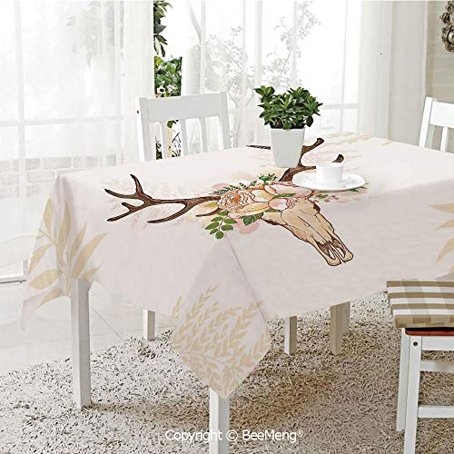 (BeeMeng Dining Kitchen Polyester dust-Proof Table Cover,Antler Decor,Horns Soft Flowers Bouquet Spring Nature Theme Rustic Home Decor Decorative,Peach Light Pink Brown,Rectangular,59 x 59 inches)