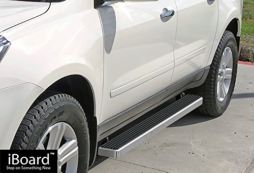 iBoard Running Boards (Nerf Bars | Side Steps | Step Bars) For 2007-2017 Chevy Traverse & 2007-2016 GMC Acadia (Excl. Denali) & 2007-2009 Buick Enclave | (Silver Brushed 4 inches)