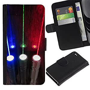 Billetera de Cuero Caso del tirón Titular de la tarjeta Carcasa Funda del zurriago para Apple Iphone 4 / 4S / Business Style Rgb Electric Optics Lights
