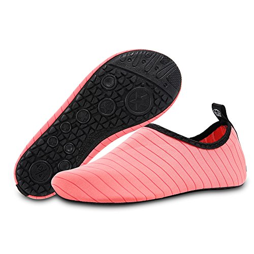 Dry Stripe Surf Men Barefoot Aqua for Quick Water Yoga Swim Beach Slip Pink Shoes On Socks HMIYA Women vBxwI6qna6