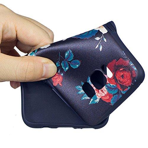 Galaxy S7 Edge Funda, ZXK CO 3D Patrón Negro Fundas Protectiva Carcasa de Silicona Gel TPU estrecha Case Cover Para Samsung Galaxy S7 Edge Ultra-Delgado, Anti-Rasguño, Anti-Golpes, Anti-Estático, Resi Flores Rosas