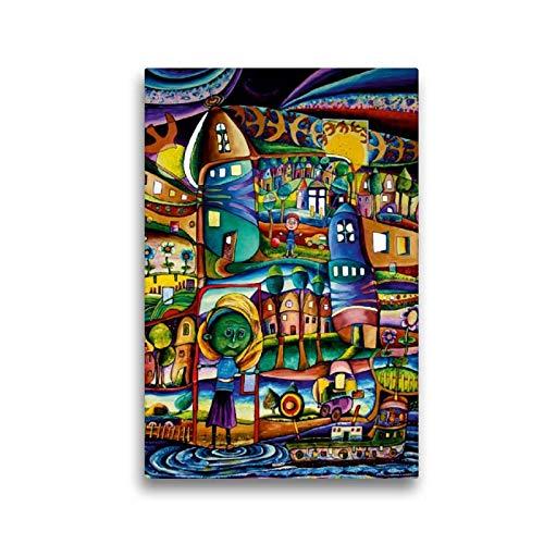 CALVENDO Toile de Lin de qualité supérieure de 30 cm x 45 cm - Hannas Petit Monde - Tableau sur châssis - Impression sur Toile véritable - Hannahs Petit Monde a Kunst Kunst