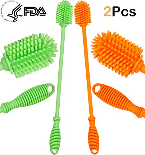 (Ponnex Silicone Bottle Brush - Two Pack Bottle Cleaner, Bottle Cleaning Brush, 12.5