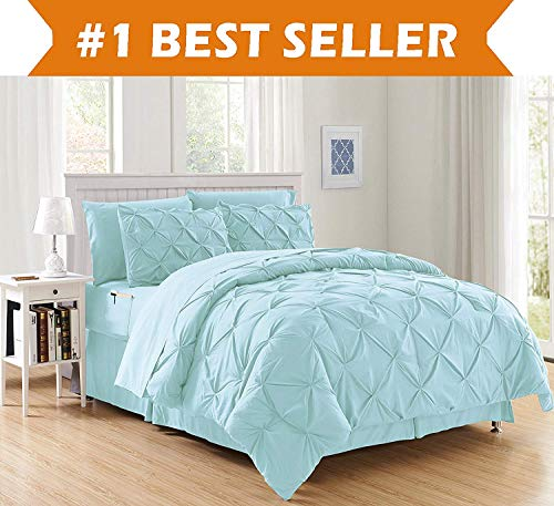 Luxury Best, Softest, Coziest 6-Piece Bed-in-a-Bag Comforter Set on Amazon! Elegant Comfort - Silky Soft Complete Set Includes Bed Sheet Set with Double Sided Storage Pockets, Twin/Twin XL, Aqua