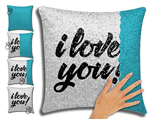 Magic Mermaid Pillow Case, Chasseur Lifestyle Modern Reversible Sequin Read Quote I Love You, Glitter Decorative Throw Pillow Covers, Teal and Silver 16