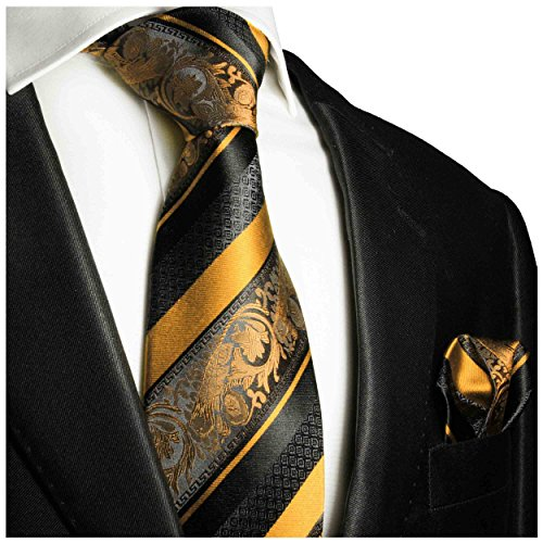 Gold and Black Silk Tie and Pocket Square Paul Malone Red Line