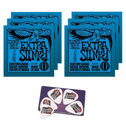 Ernie Ball 2225 Extra Slinky String Set (8 -38) Electric Guitar Strings - 6 Pack with Picks (Slinky Extra)