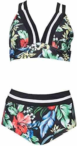 8a8bcba16a ZZpioneer Women's Summer Sexy Print Two Piece Swimsuit Push-up Split Swimwear  Beachwear Sling Swimsuit