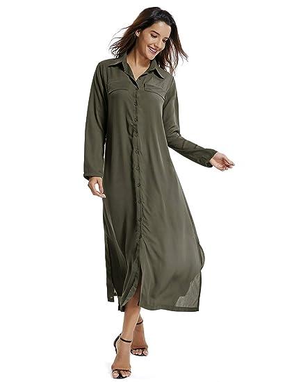 1ef60cbdbba Womens Button Down Collar Long Sleeve Casual Loose Long Maxi Dresses Split  Shirt DressWomens Button Down