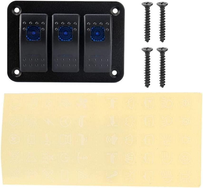 El Panel del Interruptor de Eje de Balancín, Palanca Dual del Interruptor de Eje de Balancín de la Luz del LED 12V / 24V 3 para el Barco del Infante de Marina del Coche de RV
