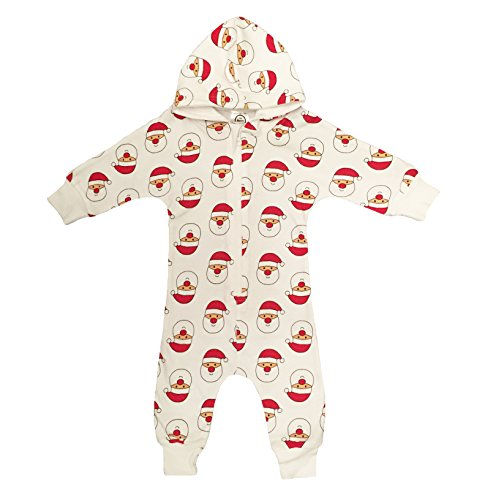 Santa Claus Face Christmas Print Organic Cotton Baby - Zip Up Over Face Hoodies